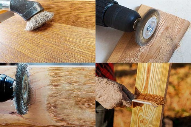 Инструменты и приспособления, которые могут быть использованы для создания структурного рельефа на поверхности древесины.